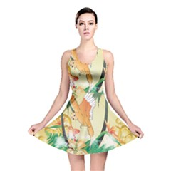 Funny Budgies With Palm And Flower Reversible Skater Dresses