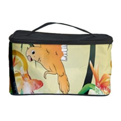 Funny Budgies With Palm And Flower Cosmetic Storage Cases