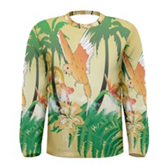 Funny Budgies With Palm And Flower Men s Long Sleeve T-shirts