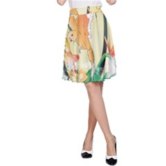 Funny Budgies With Palm And Flower A Line Skirts