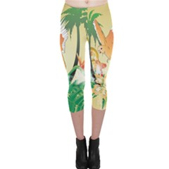 Funny Budgies With Palm And Flower Capri Leggings
