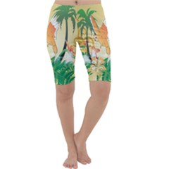 Funny Budgies With Palm And Flower Cropped Leggings