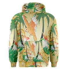 Funny Budgies With Palm And Flower Men s Pullover Hoodies