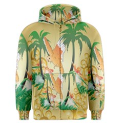 Funny Budgies With Palm And Flower Men s Zipper Hoodies