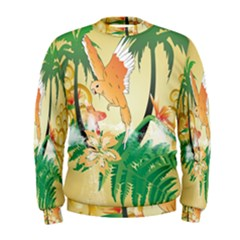 Funny Budgies With Palm And Flower Men s Sweatshirts