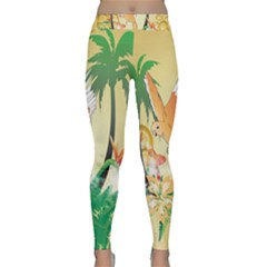 Funny Budgies With Palm And Flower Yoga Leggings