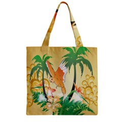 Funny Budgies With Palm And Flower Zipper Grocery Tote Bags