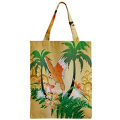Funny Budgies With Palm And Flower Zipper Classic Tote Bags
