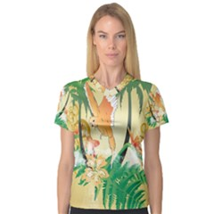 Funny Budgies With Palm And Flower Women s V-Neck Sport Mesh Tee
