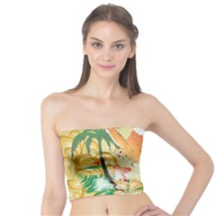 Funny Budgies With Palm And Flower Women s Tube Tops
