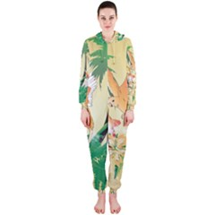 Funny Budgies With Palm And Flower Hooded Jumpsuit (Ladies)