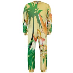 Funny Budgies With Palm And Flower OnePiece Jumpsuit (Men)