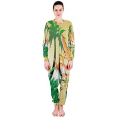 Funny Budgies With Palm And Flower OnePiece Jumpsuit (Ladies)