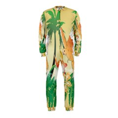 Funny Budgies With Palm And Flower OnePiece Jumpsuit (Kids)