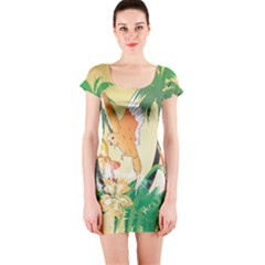 Funny Budgies With Palm And Flower Short Sleeve Bodycon Dresses