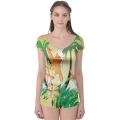 Funny Budgies With Palm And Flower Short Sleeve Leotard