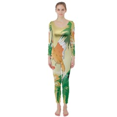 Funny Budgies With Palm And Flower Long Sleeve Catsuit