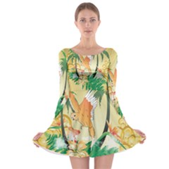 Funny Budgies With Palm And Flower Long Sleeve Skater Dress