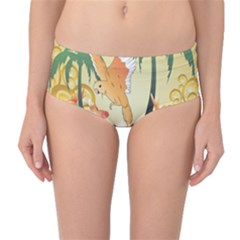 Funny Budgies With Palm And Flower Mid Waist Bikini Bottoms