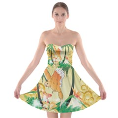 Funny Budgies With Palm And Flower Strapless Bra Top Dress