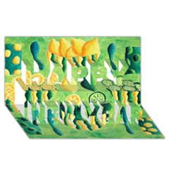 Lemons And Limes Happy New Year 3D Greeting Card (8x4)