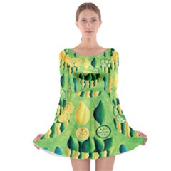 Lemons And Limes Long Sleeve Skater Dress