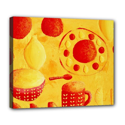 Lemons And Oranges With Bowls  Deluxe Canvas 24  x 20