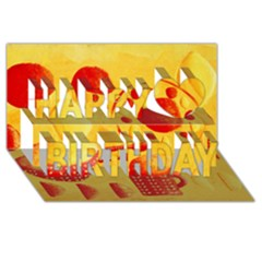 Lemons And Oranges With Bowls  Happy Birthday 3D Greeting Card (8x4)