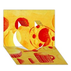 Lemons And Oranges With Bowls  Heart 3d Greeting Card (7x5)