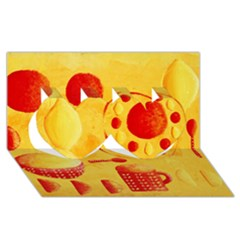 Lemons And Oranges With Bowls  Twin Hearts 3D Greeting Card (8x4)