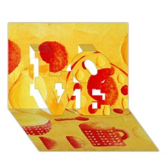 Lemons And Oranges With Bowls  Love 3d Greeting Card (7x5)