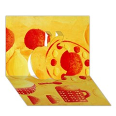 Lemons And Oranges With Bowls  Apple 3D Greeting Card (7x5)