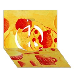 Lemons And Oranges With Bowls  Peace Sign 3d Greeting Card (7x5)