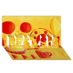 Lemons And Oranges With Bowls  BEST SIS 3D Greeting Card (8x4)