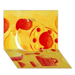 Lemons And Oranges With Bowls  Circle 3D Greeting Card (7x5)