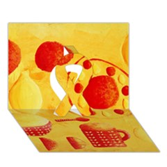 Lemons And Oranges With Bowls  Ribbon 3D Greeting Card (7x5)