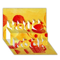 Lemons And Oranges With Bowls  You Rock 3d Greeting Card (7x5)