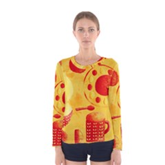 Lemons And Oranges With Bowls  Women s Long Sleeve T-shirts