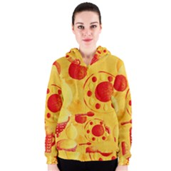 Lemons And Oranges With Bowls  Women s Zipper Hoodies
