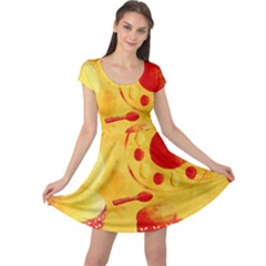 Lemons And Oranges With Bowls  Cap Sleeve Dresses