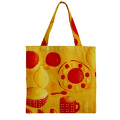 Lemons And Oranges With Bowls  Zipper Grocery Tote Bags