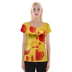 Lemons And Oranges With Bowls  Women s Cap Sleeve Top