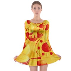 Lemons And Oranges With Bowls  Long Sleeve Skater Dress