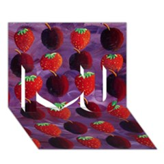 Strawberries And Plums  I Love You 3D Greeting Card (7x5)