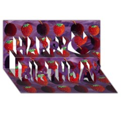 Strawberries And Plums  Happy Birthday 3d Greeting Card (8x4)