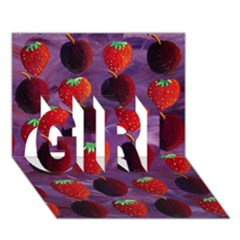 Strawberries And Plums  Girl 3d Greeting Card (7x5)
