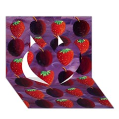 Strawberries And Plums  Heart 3d Greeting Card (7x5)