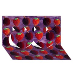 Strawberries And Plums  Twin Hearts 3D Greeting Card (8x4)