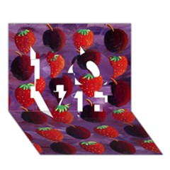 Strawberries And Plums  LOVE 3D Greeting Card (7x5)