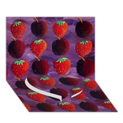 Strawberries And Plums  Heart Bottom 3D Greeting Card (7x5)